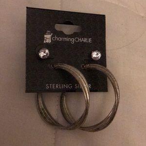 Hoop earrings and crystal stud earrings